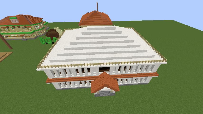 Minecrafterししゃもがマインクラフトでぷっこ村に青森銀行記念館をモデルにしたドングリーバンクを建設する9