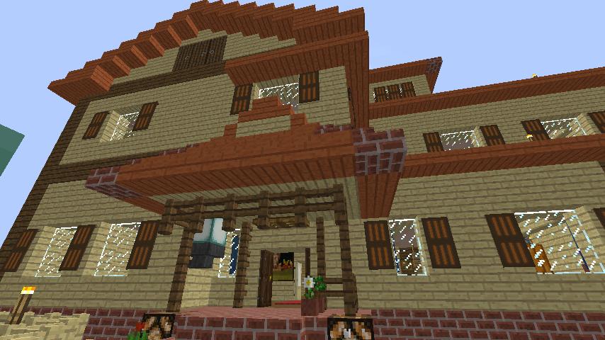 Minecrafterししゃもがマインクラフトでぷっこ村の小高い丘に洋館を建てる8