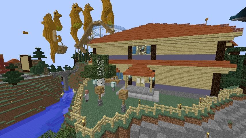 Minecrafterししゃもがマインクラフトでぷっこ村に旧半田医院をアレンジ再現し茶番を演じる16