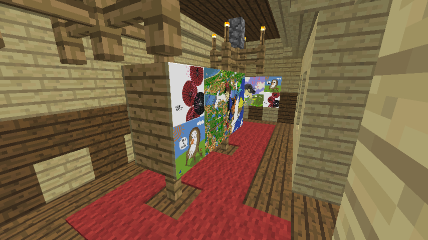 Minecrafterししゃもがマインクラフトでぷっこ村に旧木下建平邸をアレンジ再現して貸しギャラリーにする9