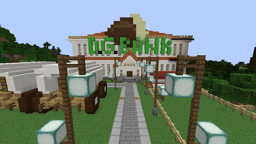 Minecrafterししゃもですがマインクラフトでぷっこ村に青森銀行記念館をモデルにしたドングリーバンクを建設する1