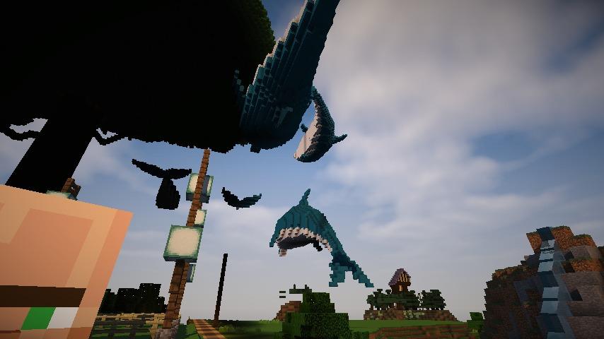 Minecrafterししゃもがマインクラフトでぷっこ村にイルカを作成して紹介する1