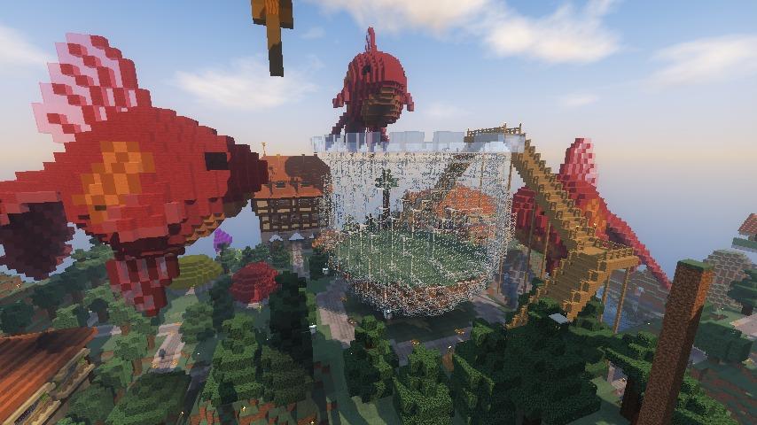 Minecrafterししゃもがマインクラフトでぷっこ村に金魚鉢に入って金魚に鑑賞される新しいアクティビティを建築して紹介する1