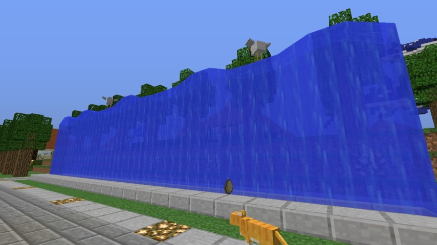 Minecrafterししゃもがマインクラフトでぷっこ村に水のカーテンを作成し作成方法を茶番を演じながら紹介する18