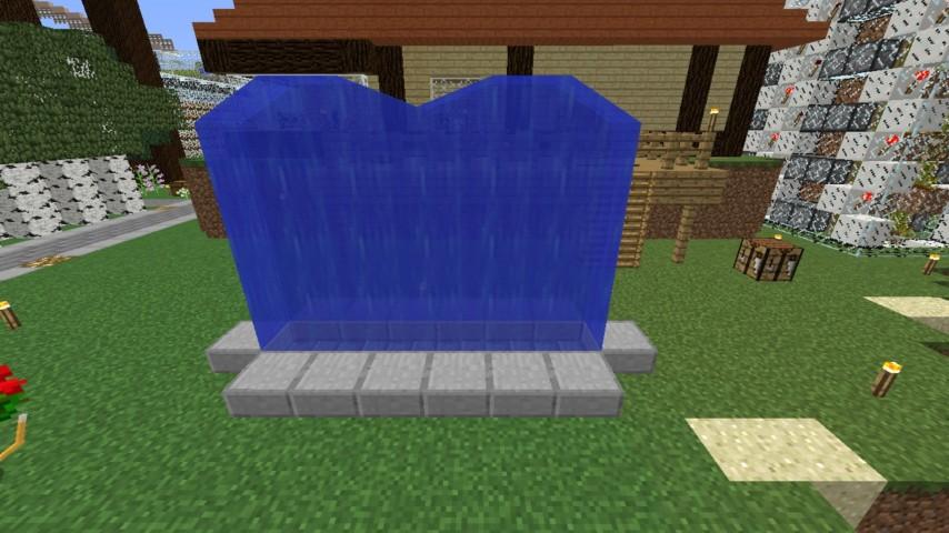 Minecrafterししゃもがマインクラフトでぷっこ村に水のカーテンを作成し作成方法を茶番を演じながら紹介する2