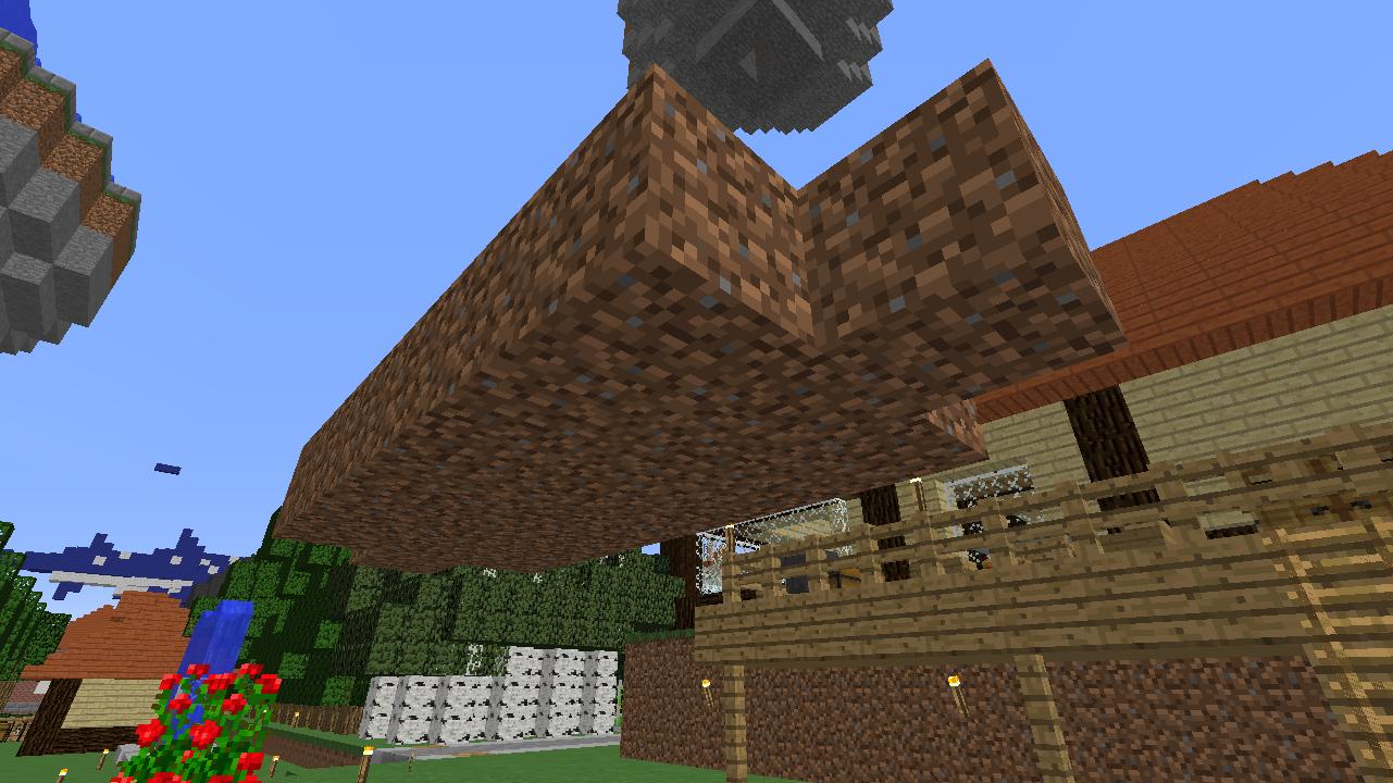Minecrafterししゃもがマインクラフトでぷっこ村に水のカーテンを作成し作成方法を茶番を演じながら紹介する6