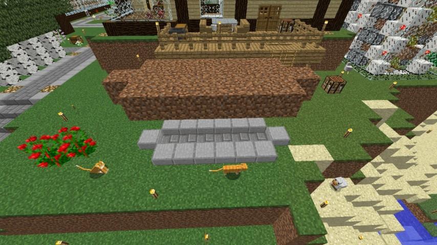 Minecrafterししゃもがマインクラフトでぷっこ村に水のカーテンを作成し作成方法を茶番を演じながら紹介する7