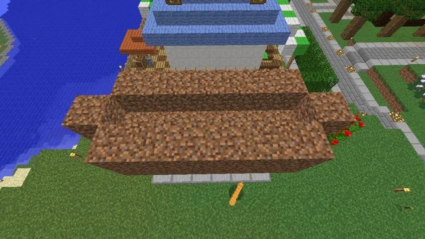 Minecrafterししゃもがマインクラフトでぷっこ村に水のカーテンを作成し作成方法を茶番を演じながら紹介する8