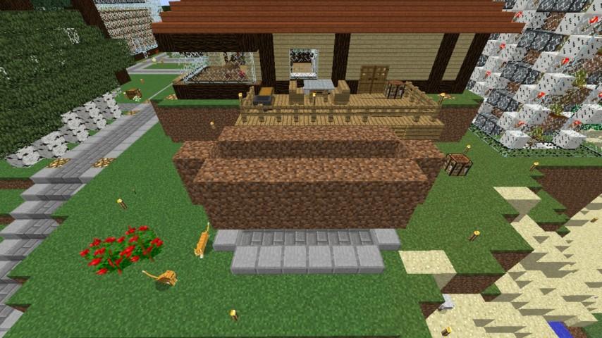 Minecrafterししゃもがマインクラフトでぷっこ村に水のカーテンを作成し作成方法を茶番を演じながら紹介する9