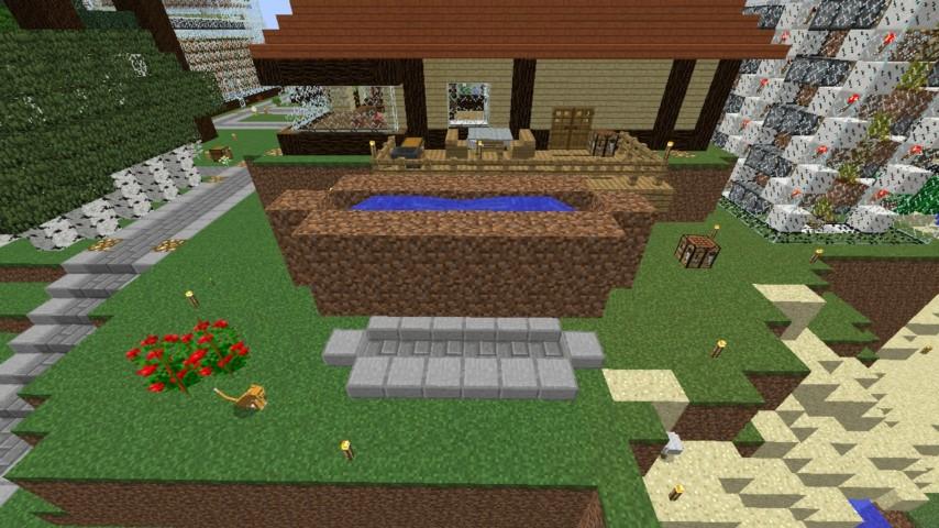 Minecrafterししゃもがマインクラフトでぷっこ村に水のカーテンを作成し作成方法を茶番を演じながら紹介する11