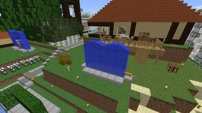 Minecrafterししゃもがマインクラフトでぷっこ村に水のカーテンを作成し作成方法を茶番を演じながら紹介する17