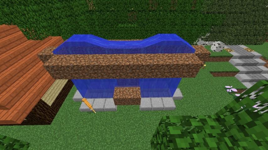 Minecrafterししゃもがマインクラフトでぷっこ村に水のカーテンを作成し作成方法を茶番を演じながら紹介する21