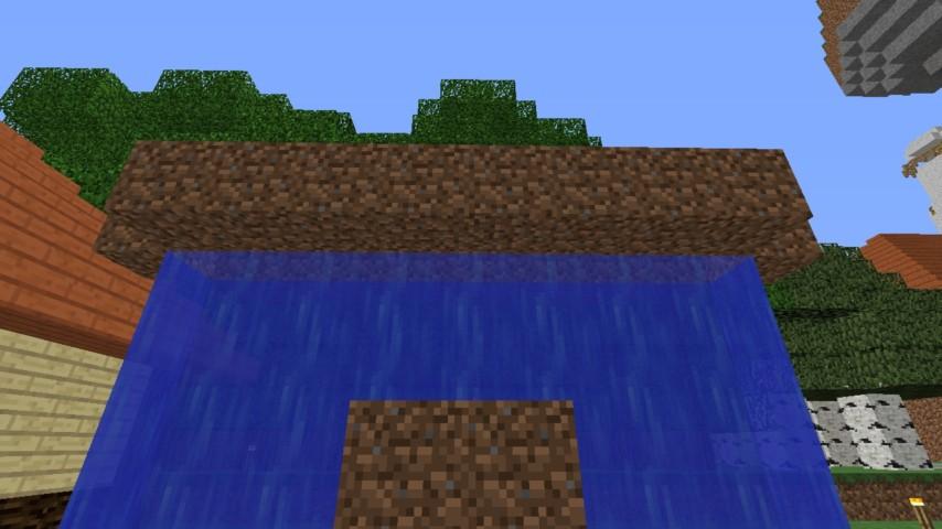 Minecrafterししゃもがマインクラフトでぷっこ村に水のカーテンを作成し作成方法を茶番を演じながら紹介する22