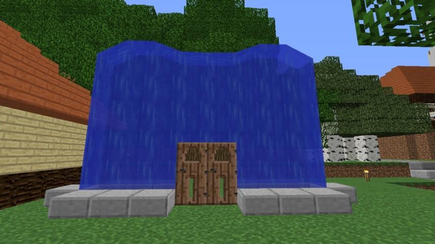 Minecrafterししゃもがマインクラフトでぷっこ村に水のカーテンを作成し作成方法を茶番を演じながら紹介する23