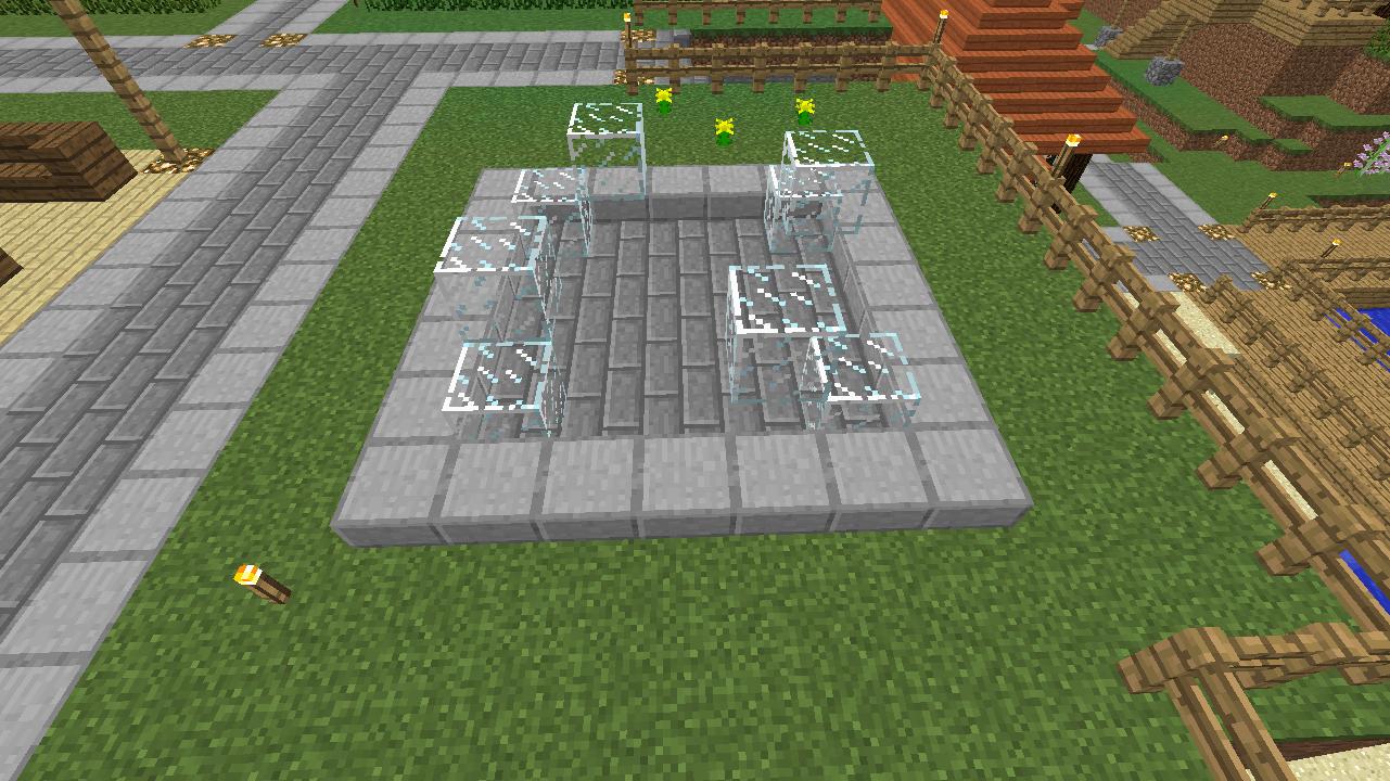 Minecrafterししゃもがマインクラフトでぷっこ村にオシャレな噴水を建設して作り方を茶番を演じながら紹介する5