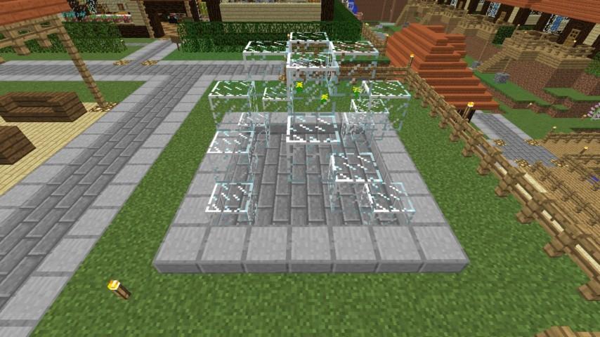 Minecrafterししゃもがマインクラフトでぷっこ村にオシャレな噴水を建設して作り方を茶番を演じながら紹介する9