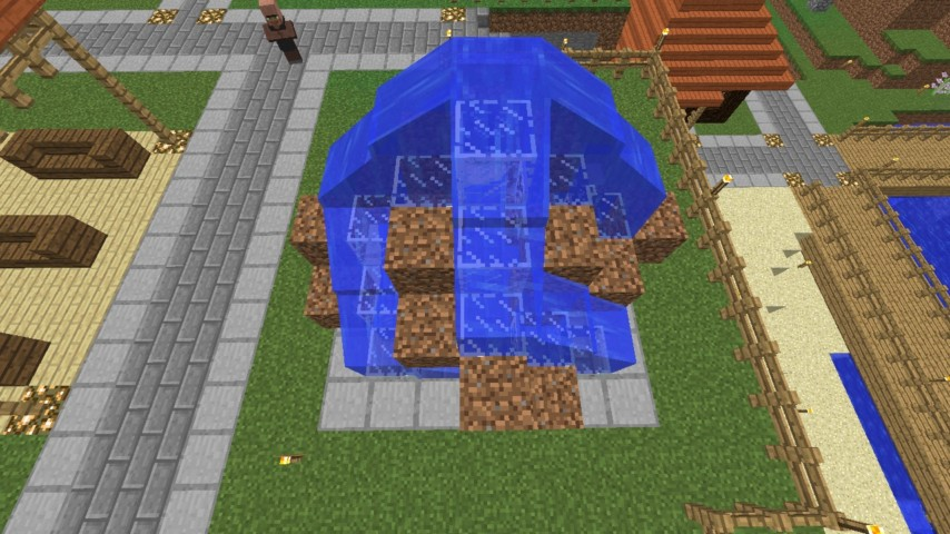 Minecrafterししゃもがマインクラフトでぷっこ村にオシャレな噴水を建設して作り方を茶番を演じながら紹介する19