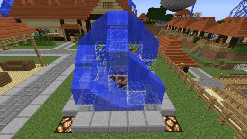 Minecrafterししゃもがマインクラフトでぷっこ村にオシャレな噴水を建設して作り方を茶番を演じながら紹介する22