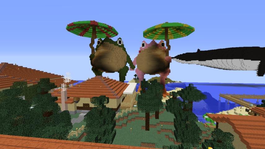 ある日のぷっこ村Minecrafterししゃもがマインクラフトでぷっこ村にカエルの置物を作る7