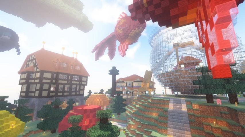 Minecrafterししゃもがマインクラフトでぷっこ村に金魚鉢に入って金魚に鑑賞される新しいアクティビティを建築して紹介する2