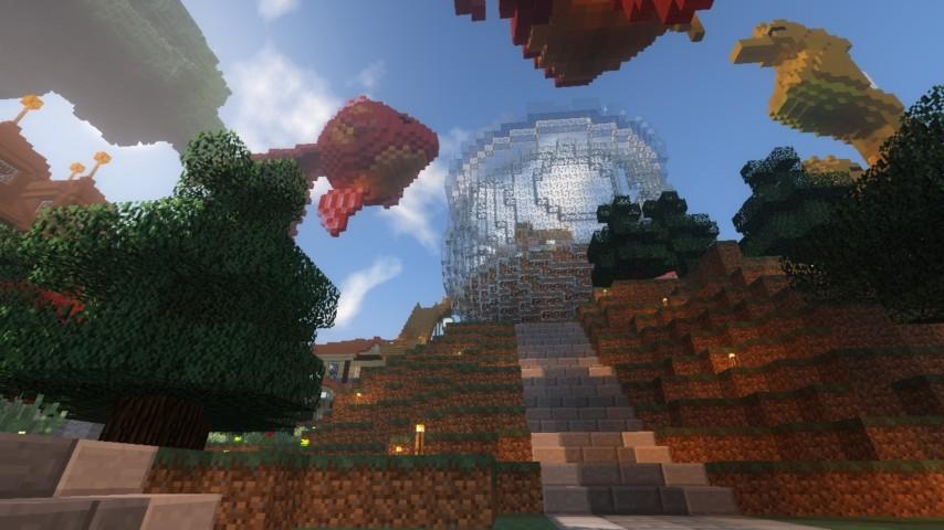 Minecrafterししゃもがマインクラフトでぷっこ村に金魚鉢に入って金魚に鑑賞される新しいアクティビティを建築して紹介する3