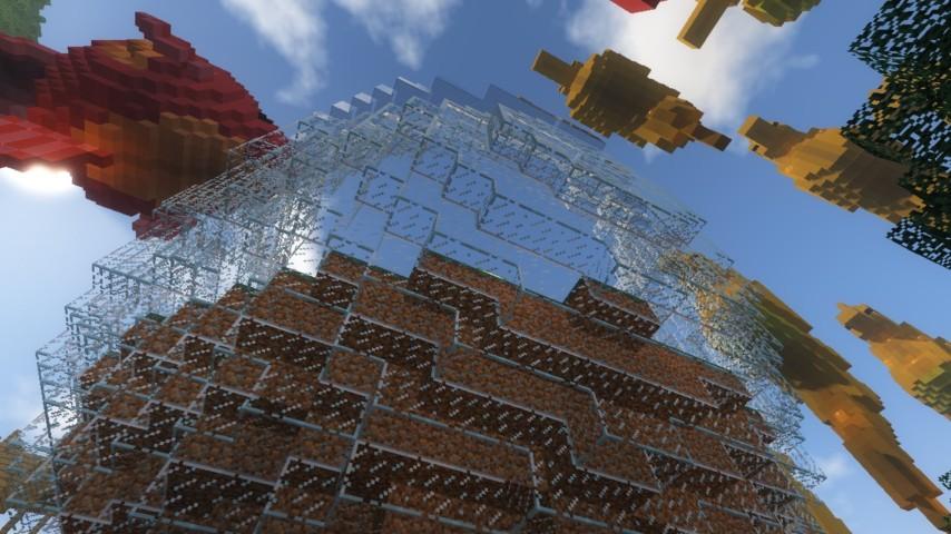 Minecrafterししゃもがマインクラフトでぷっこ村に金魚鉢に入って金魚に鑑賞される新しいアクティビティを建築して紹介する4