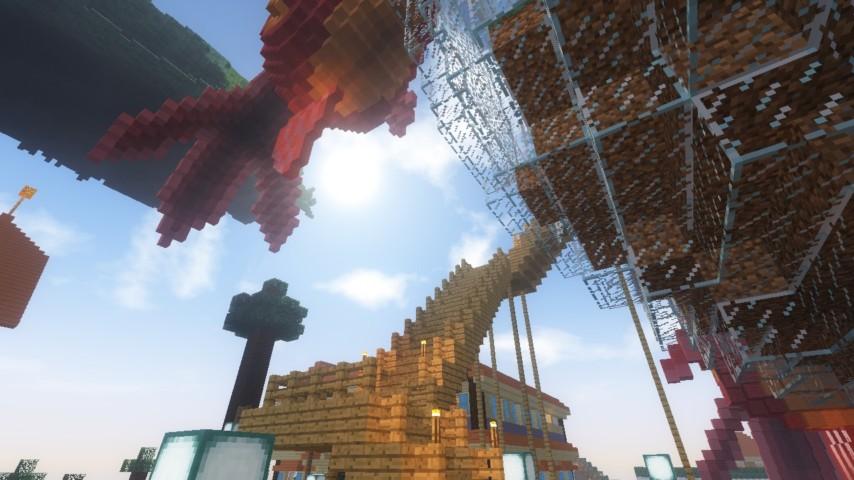 Minecrafterししゃもがマインクラフトでぷっこ村に金魚鉢に入って金魚に鑑賞される新しいアクティビティを建築して紹介する5