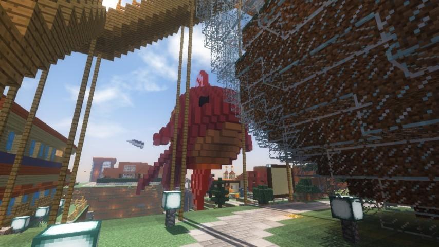 Minecrafterししゃもがマインクラフトでぷっこ村に金魚鉢に入って金魚に鑑賞される新しいアクティビティを建築して紹介する6