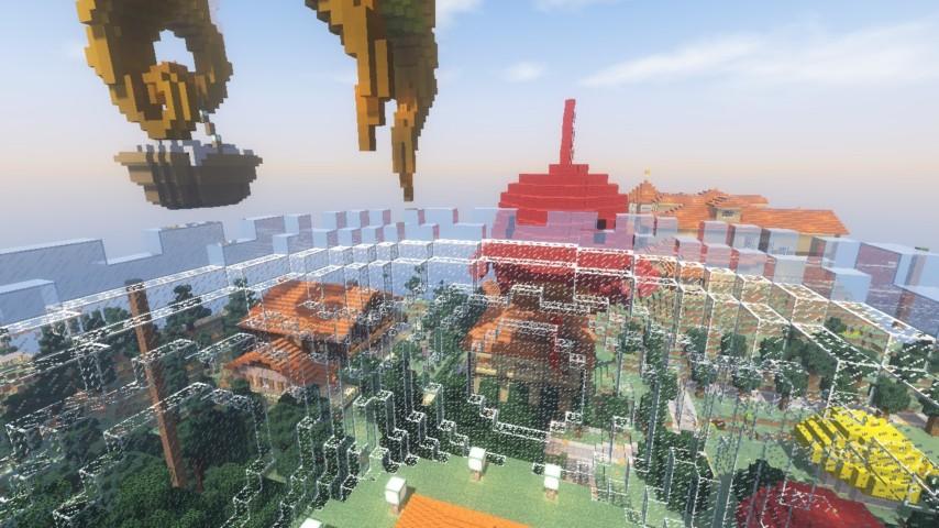 Minecrafterししゃもがマインクラフトでぷっこ村に金魚鉢に入って金魚に鑑賞される新しいアクティビティを建築して紹介する8