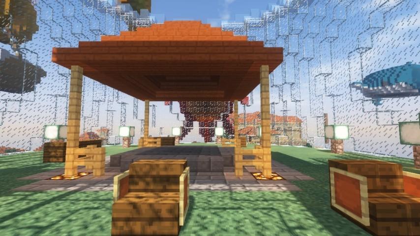 Minecrafterししゃもがマインクラフトでぷっこ村に金魚鉢に入って金魚に鑑賞される新しいアクティビティを建築して紹介する10