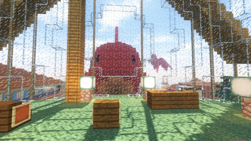 Minecrafterししゃもがマインクラフトでぷっこ村に金魚鉢に入って金魚に鑑賞される新しいアクティビティを建築して紹介する11