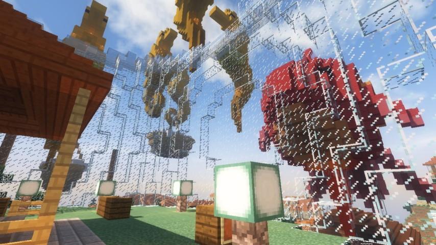Minecrafterししゃもがマインクラフトでぷっこ村に金魚鉢に入って金魚に鑑賞される新しいアクティビティを建築して紹介する13