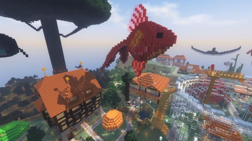 Minecrafterししゃもがマインクラフトでぷっこ村に金魚鉢に入って金魚に鑑賞される新しいアクティビティを建築して紹介する7