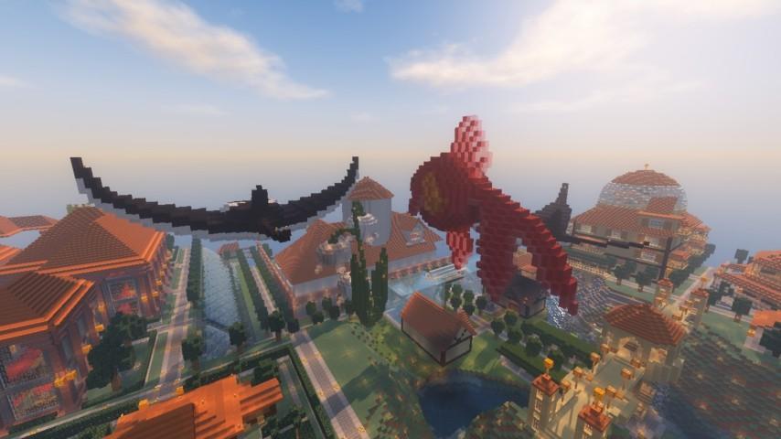 Minecrafterししゃもがマインクラフトでぷっこ村に金魚鉢に入って金魚に鑑賞される新しいアクティビティを建築して紹介する15