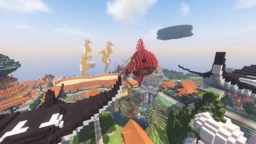 Minecrafterししゃもがマインクラフトでぷっこ村に金魚鉢に入って金魚に鑑賞される新しいアクティビティを建築して紹介する16