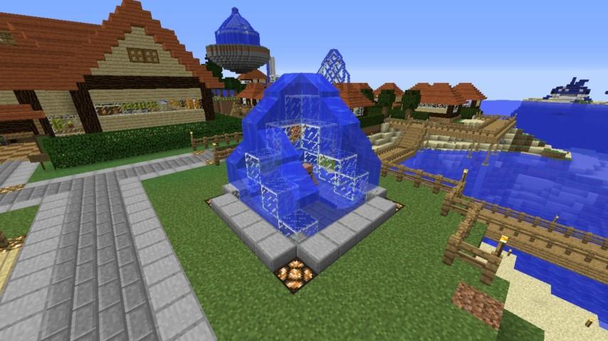 Minecrafterししゃもがマインクラフトでぷっこ村にオシャレな噴水を建設して作り方を茶番を演じながら紹介する2