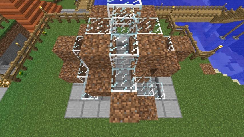Minecrafterししゃもがマインクラフトでぷっこ村にオシャレな噴水を建設して作り方を茶番を演じながら紹介する16