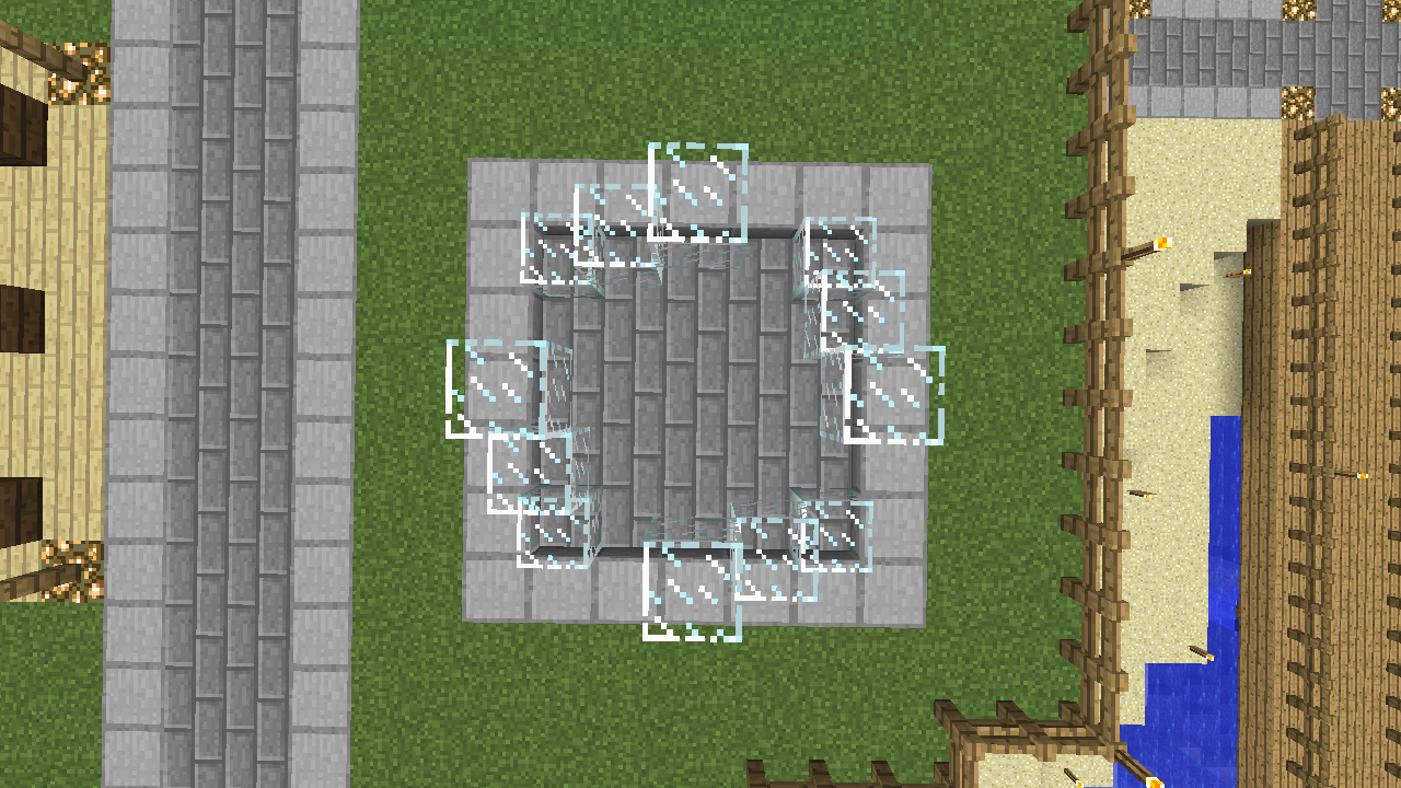 Minecrafterししゃもがマインクラフトでぷっこ村にオシャレな噴水を建設して作り方を茶番を演じながら紹介する8