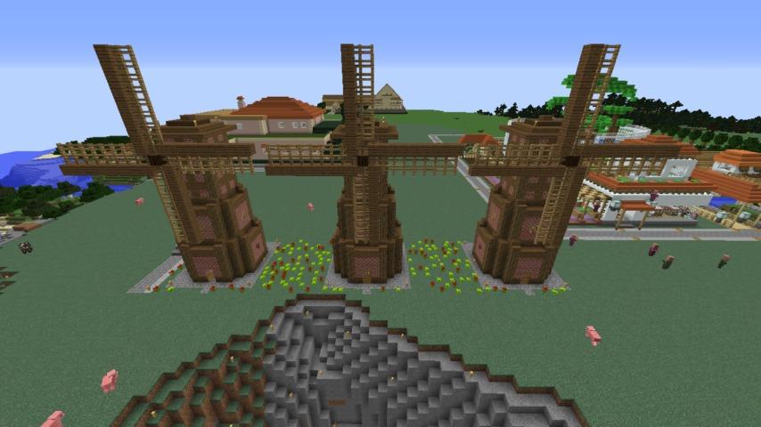 Minecrafterししゃもがマインクラフトでぷっこ村に三つ子の風車を作る1