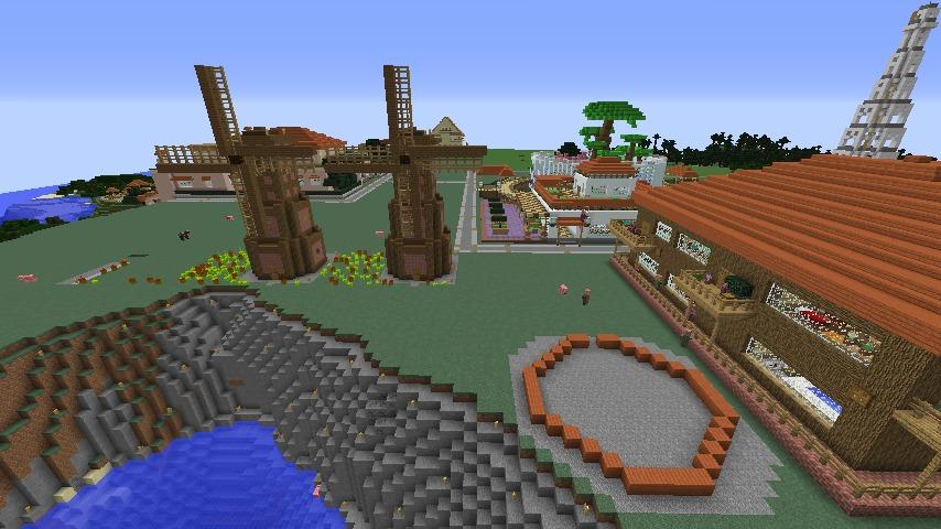 Minecrafterししゃもがマインクラフトでぷっこ村に三つ子の風車を作る2