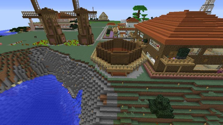 Minecrafterししゃもがマインクラフトでぷっこ村に三つ子の風車を作る3
