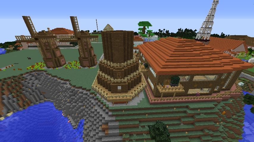 Minecrafterししゃもがマインクラフトでぷっこ村に三つ子の風車を作る5