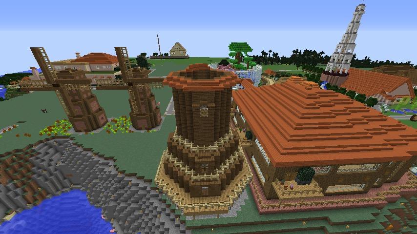 Minecrafterししゃもがマインクラフトでぷっこ村に三つ子の風車を作る6