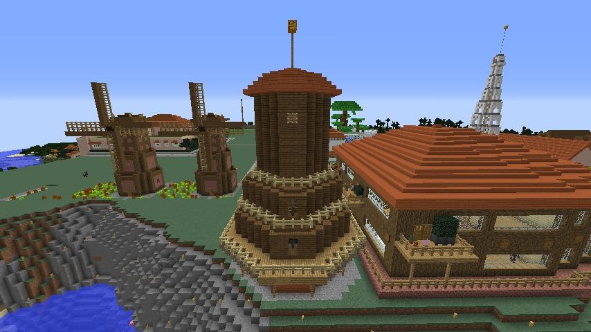 Minecrafterししゃもがマインクラフトでぷっこ村に三つ子の風車を作る7