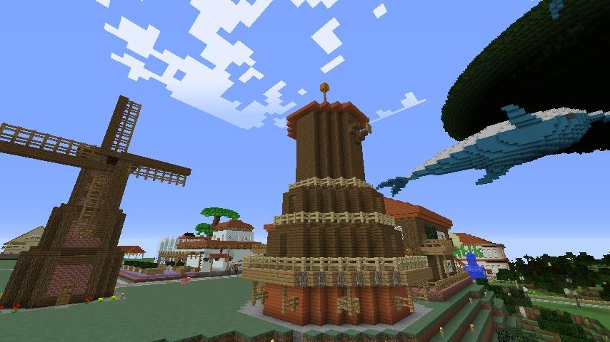 Minecrafterししゃもがマインクラフトでぷっこ村に三つ子の風車を作る8