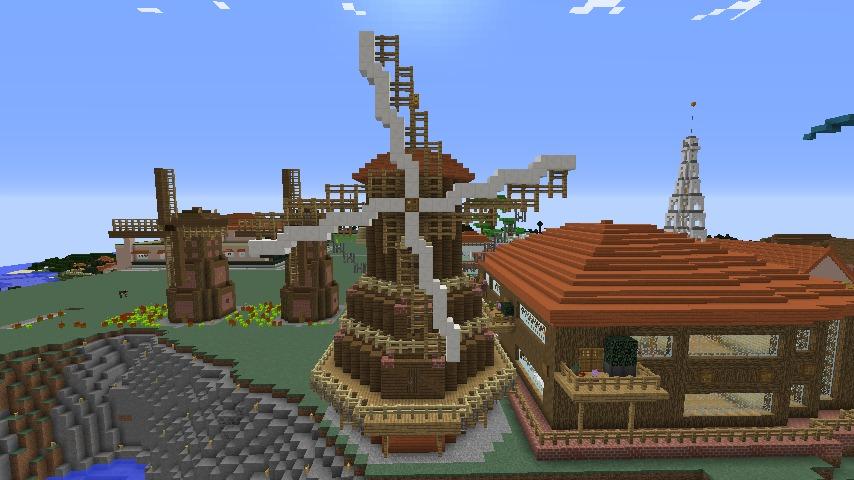 Minecrafterししゃもがマインクラフトでぷっこ村に三つ子の風車を作る9