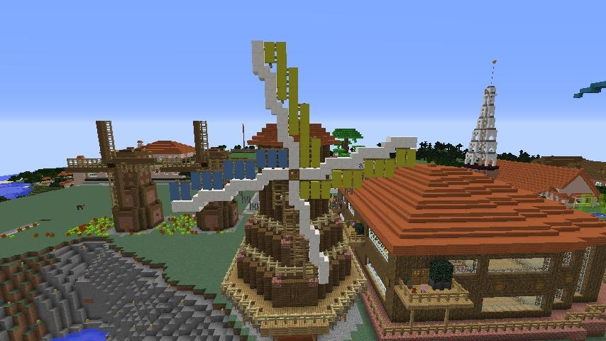 Minecrafterししゃもがマインクラフトでぷっこ村に三つ子の風車を作る10