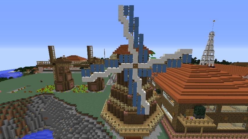 Minecrafterししゃもがマインクラフトでぷっこ村に三つ子の風車を作る11
