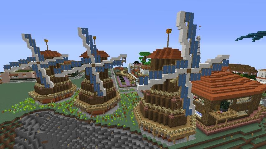 Minecrafterししゃもがマインクラフトでぷっこ村に三つ子の風車を作る12