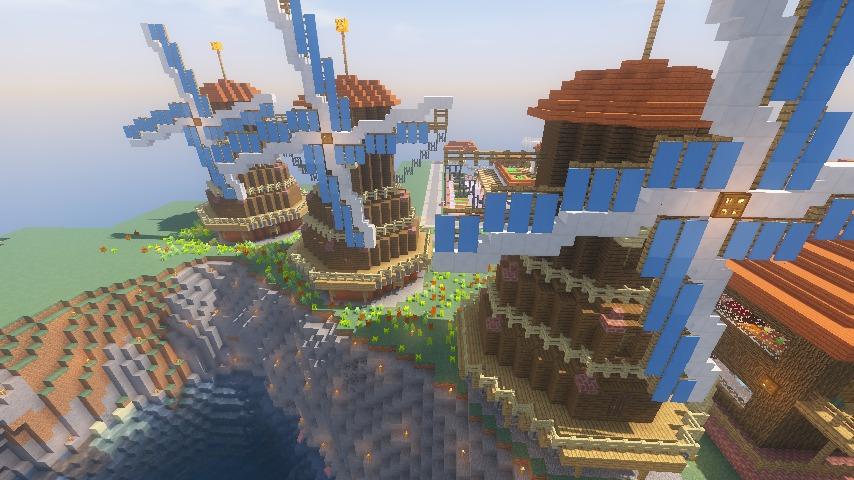 Minecrafterししゃもがマインクラフトでぷっこ村に三つ子の風車を作る17